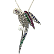 Edwardian Deco 18k & Platinum PARROT Brooch Pendant with Pearl, Diamonds, Rubies, Emeralds, Sapphires plus Chain