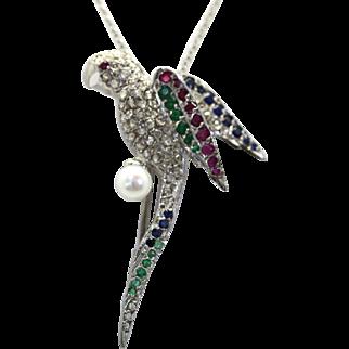 Edwardian Deco 18k & Platinum PARROT Brooch Pendant with Pearl, Diamonds, Rubies, Emeralds, Sapphires plus Chain