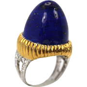 Blue Lapis Lazuli Bullet Solitaire Ring 14K Handmade 40 Carats Yellow & White Gold
