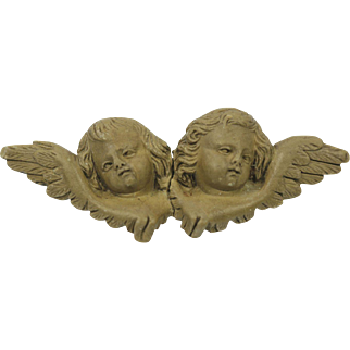Lava Cameo Cherub Brooch Circa 1890's Remarkable Carving Two Different Faces