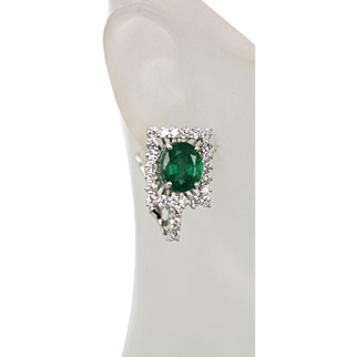 Emerald and Diamond 18k White Gold Earrings 8.02 Total Carat Weight, Euro Back Clip