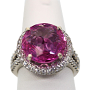Pink Oval Sapphire (9 Carats) and Diamond Cocktail Ring with Butterfly Accents and 18k White Gold