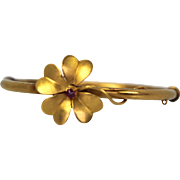 Vintage Victorian Edwardian Era Pansy Clover Bracelet 14K Yellow Gold with Ruby Center