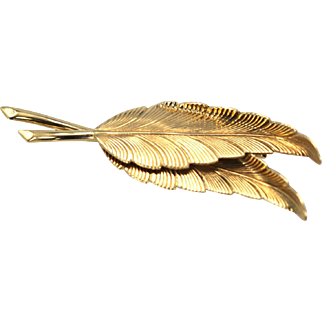 Tiffany Circa 1980 Double Leaf Brooch 14K Yellow Gold Highly detailed