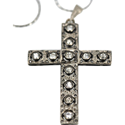 Antique Edwardian Victorian Gold and Silver 2.10 Carats Diamond Cross
