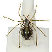 Retro Cat's Eye 6.00  Carat Chrysoberyl Spider Brooch with Scalloped Diamond Accent 18K Yellow Gold