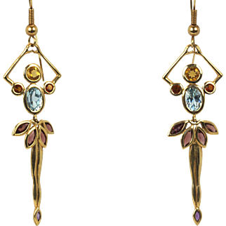 OLIVER Ballerina Drop Dangle Earrings with Citrine 14k Yellow Gold