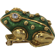 David Webb Iconic Green Enamel Frog Brooch Pin Diamond Eyes 18K Yellow Gold