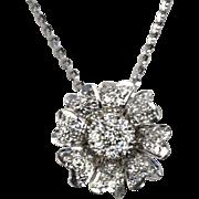 Diamond Flower Pendant 14k White Gold Slide on 18k White Gold Chain, Handmade