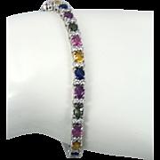 Multi colored fancy Sapphire & Diamond 12.70 cts 14k white gold bracelet