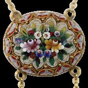 "Antique Micro Mosaic Double Swag Necklace, Circa 1900, 18k Yellow Gold, 16"" Long"