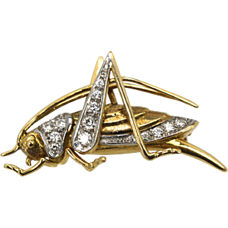Vintage Grasshopper Cricket Brooch in 18K Yellow Gold with 0.50 carats of Diamonds