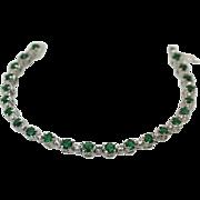 Vintage Emerald Diamond 18k white gold bracelet 3.75cts emeralds .45cts diamonds