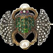 Antique French Diamond Emerald 14K Scarab brooch circa 1900's