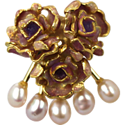 Enamel Rose Buds with 5 freshwater Pink Pearls 18K Yellow Gold