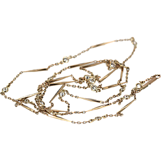 Gorgeous Vintage 14K Yellow Gold Bar and link Chain with1.38 Carats of Diamonds