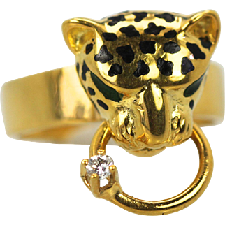 Enamel Big Cat Ring with Black Spotted Head & Diamond on Ring 14K