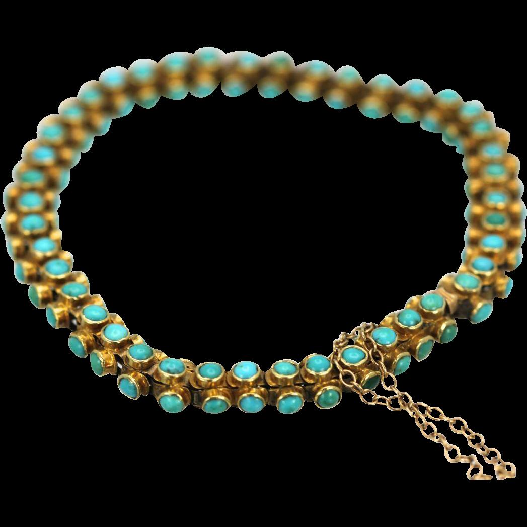 Antique 18K Yellow Gold Three sided Turquoise Bracelet circa 1900