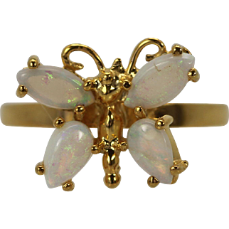 Vintage Baby Opal Butterfly Ring 18K Yellow Gold