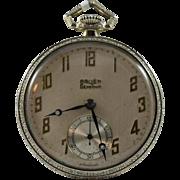 Gruen Semi-Thin Sterling Silver Pocket Watch-Circa 1924-1931