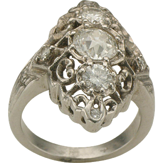 14K White Gold and Diamond Vintage Filigree Style Fashion Ring