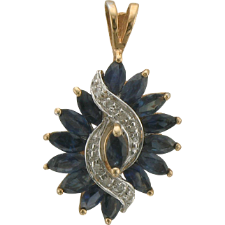 Vintage 14K Gold Sapphire and Diamond Pendant