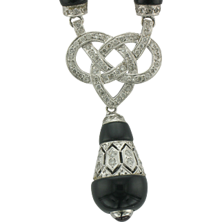 Art Deco Style Black Onyx And Diamond Pendant