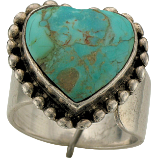 Sterling Silver and Heart Shaped Turquoise Adjustable Ring