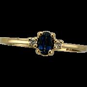 Vintage 14K Blue Sapphire and Diamond Ring