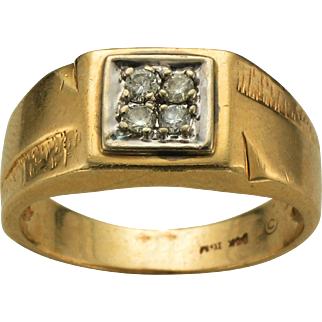 14K Yellow Gold 4 Diamond Ring