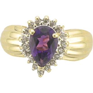14K Pear Shaped Amethyst and Diamond RIng