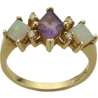 Vintage 14K Amethyst, Opal and Diamond Ring