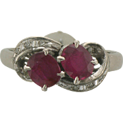 Vintage White Gold,Ruby and Diamond Accent Ring