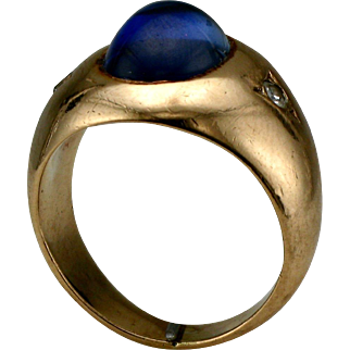 14K Yellow Cabochon Synthetic Blue Sapphire and Diamond Ring
