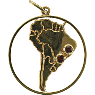 18K South American Pendant/Charm with Garnets from Brazil