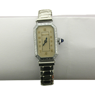 1924 Lady's Bulova Watch with White Gold Case and Stainless Steel Band