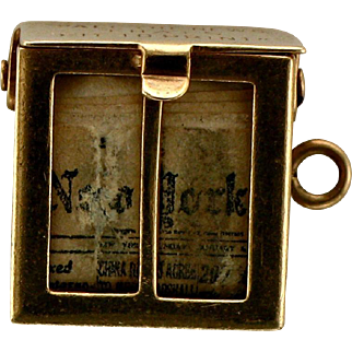 Vintage 14K Gold -New York Times Newspaper Box Charm