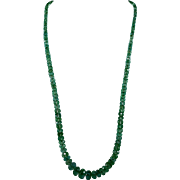 Green Beryl Faceted Bead Necklace