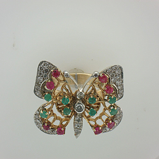 14K White and Yellow Gold Butterfly Ring Set With Rubies, Emeralds and Diamonds