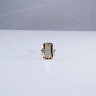 14K Yellow Gold, Mother of Pearl and Diamond Ring