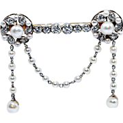 Edwardian 1900's Platinum and 14K Yellow Gold Stock Pin with Diamonds and Pearls