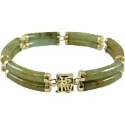 Vintage 14K Gold and Green Jade Chinese Link Bracelet - 3510