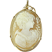 Large Vintage Cameo Pendant with Gold Filled Frame - 0409