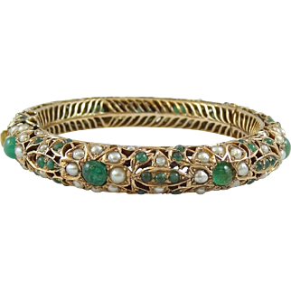 Vintage 12K Yellow Gold, Jade & Seed Pearl Bangle Bracelet with Box - 4104
