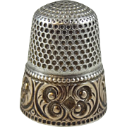 Antique Stern Brothers Sterling Silver and 10K Gold Overlay Thimble, Size 6 - 0413