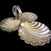 Antique Victorian Elkington & Co Silverplate Three Shell Candy / Nut Dish Circa 1899 - 0415