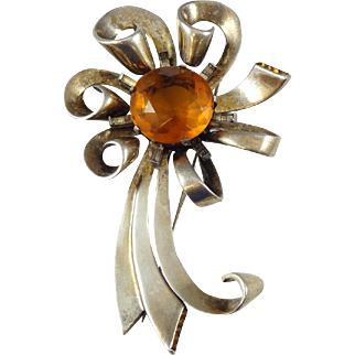 Vintage Heavy Sterling Silver & Citrine Bow Pin / Brooch - Signed F - 0414