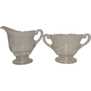 Cambridge Rose Point Creamer and Sugar