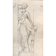 """Rockwell Kent pencil drawing, """"Motherly Love"""""""