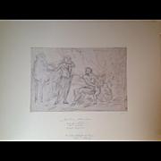 Biblical scene (Verso: Antique figure) by Ottaviano Dandini (1681 - 1740)